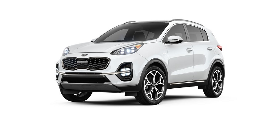 2020 kia sportage on white background in snow white