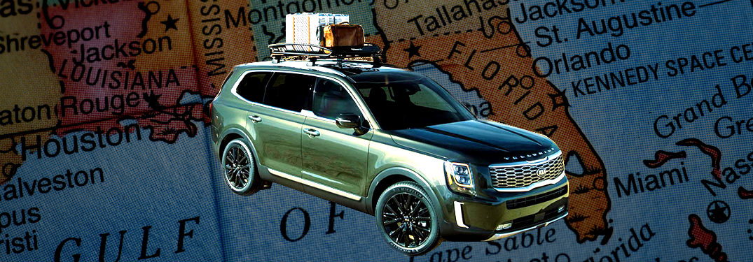 2020 kia telluride in front of a map