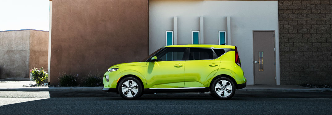 Side view of yellow 2020 Kia Soul EV