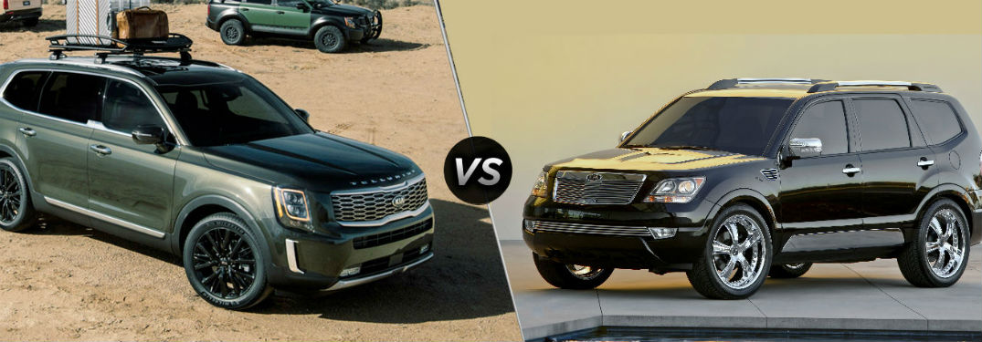 split screen image comparing the 2020 kia telluride and the 2009 kia borrego