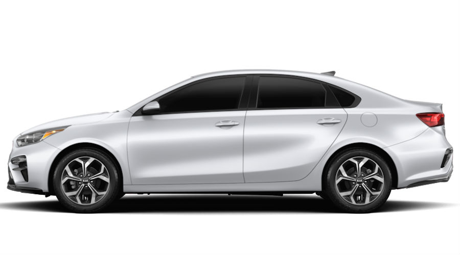 2020 kia forte on white background in silky sliver