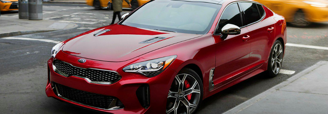 closeup of red 2019 kia stinger gt