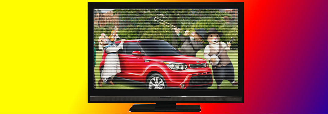 Best ever Kia commercials header with tv and hamsters