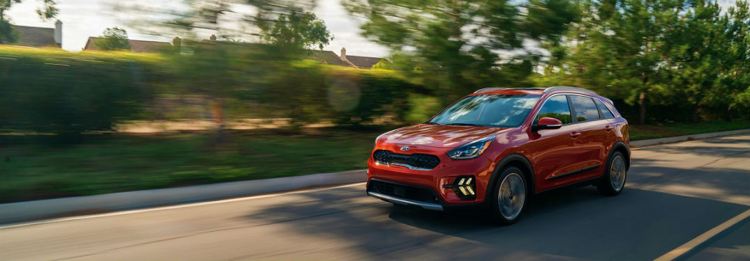 2020 kia niro in red driving around st petersburg florida