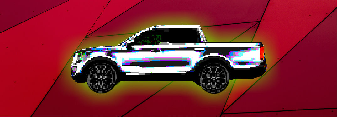 pixelated kia truck on stylized background
