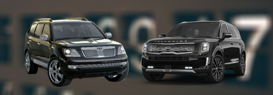 kia borrego and kia telluride against clock background