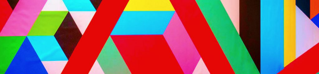 geometric wall art on building