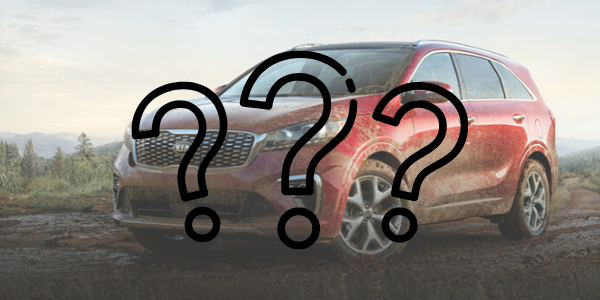 Red 2020 Kia Sorento with hree question marks over it