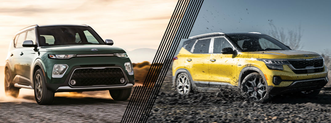 Green 2020 Kia Soul and yellow 2021 Kia Seltos