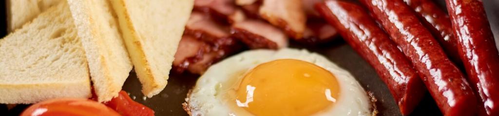 Closeup of breakfast foods
