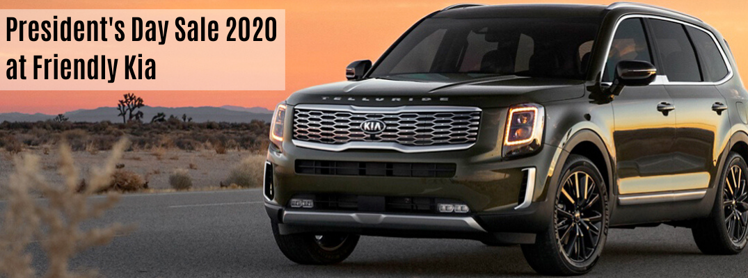 "2020 Kia Telluride with ""President's Day Sale 2020 at Friendly Kia"" black text"