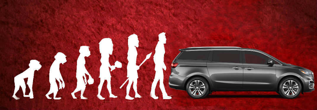 Theory of Evolution diagram with 2020 Kia Sedona over red background