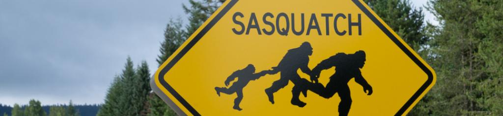 Yellow sasquatch crossing sign