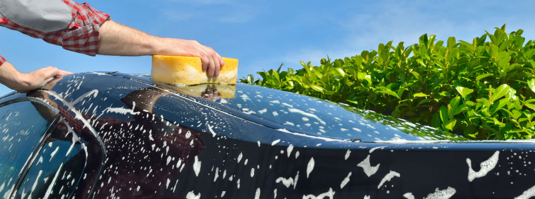 Person washing vehicle with yellow sponge