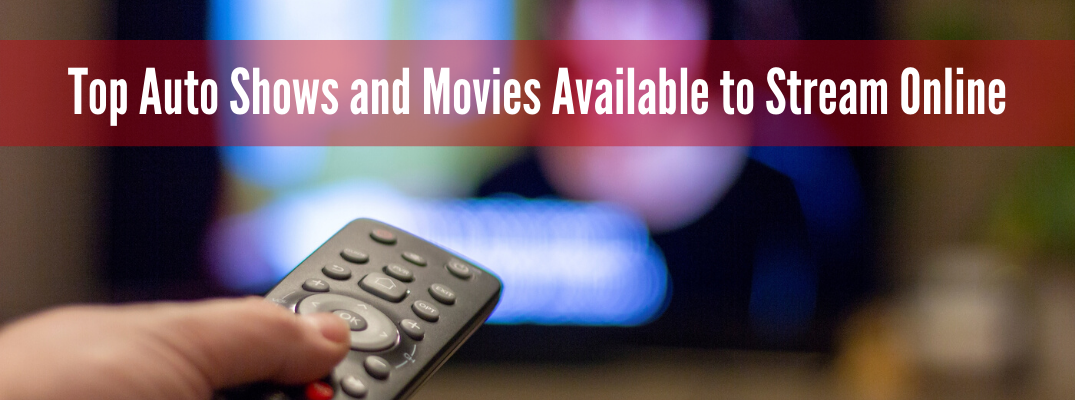 "Remote control pointing at TV screen with ""Top Auto Shows and Movies Available to Stream Online"" white text"