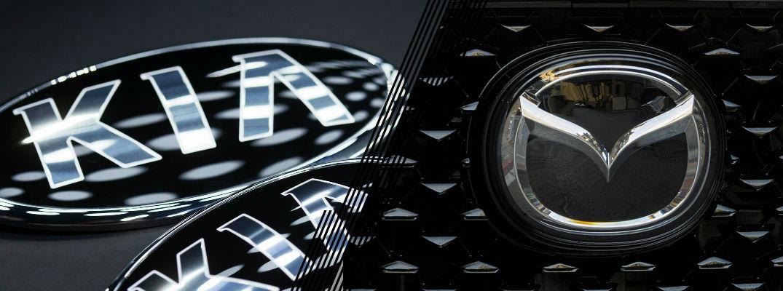 Kia logo and Mazda logo