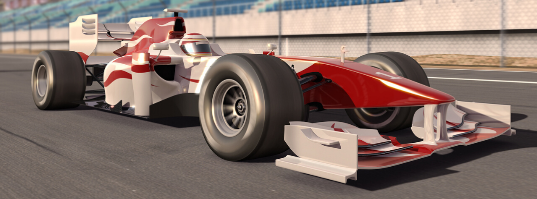 Animated-looking race car on track