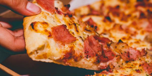 Closeup of pizza slice