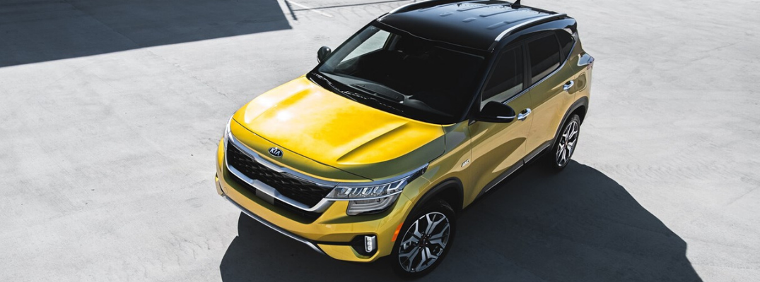 Overhead view of yellow 2021 Kia Seltos