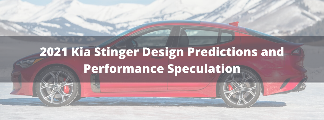 "Red 2020 Kia Stinger with white ""2021 Kia Stinger Design Predictions and Performance Speculation"" text"