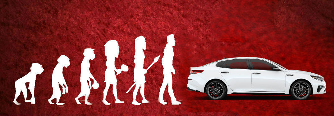 Evolution of Man graphic with 2020 Kia Optima