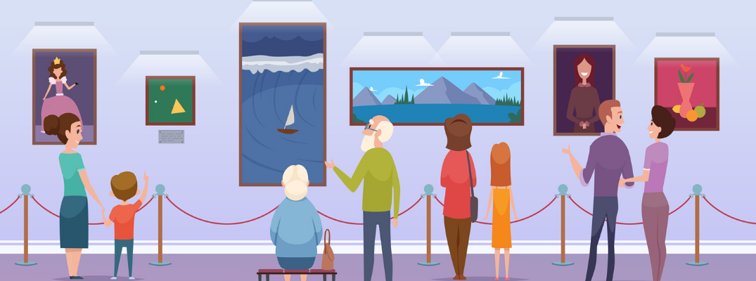 Vector image of visitors at museum