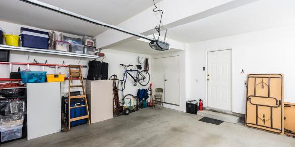 Interior view of organized garage