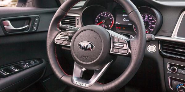 Closeup of steering wheel in 2020 Kia Optima