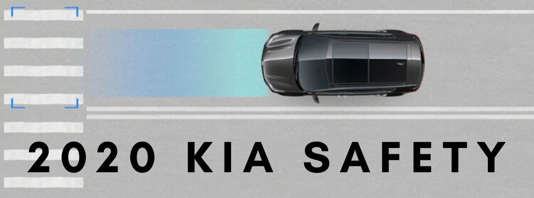 "Kia safety diagram with black ""2020 Kia Safety"" text"