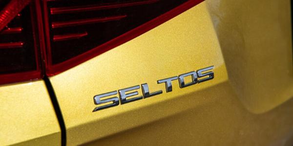 Closeup of emblem on 2021 Kia Seltos