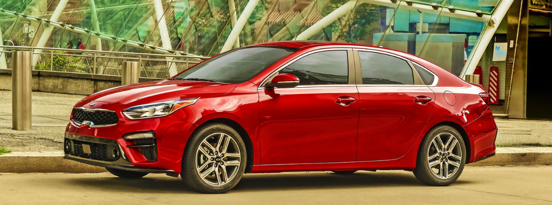 Side view of red 2021 Kia Forte