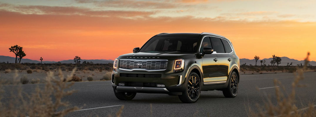 Black 2021 Kia Telluride in front of sunset