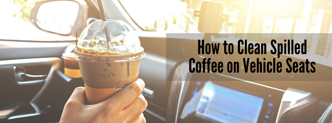 "Person holding iced coffee in car with ""How to Clean Spilled Coffee on Vehicle Seats"" black text"