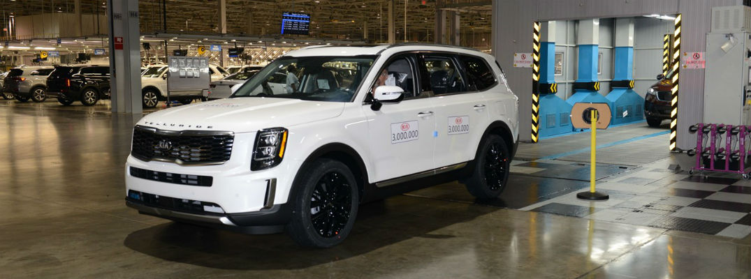 White 2021 Kia Telluride on manufacturing line