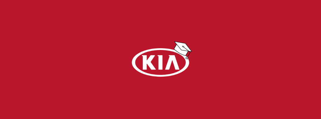 Kia logo with graduation cap