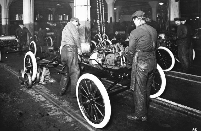 1913 – Ford Highland Park Plant- First Moving Assembly Line, Photo courtesy of Western Slope Auto.com