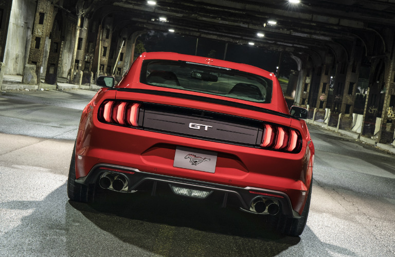 Rear View of Red 2018 Ford Mustang GT with Performance Pack Level 2