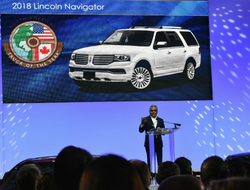 Man Announcing The North American Truck Of The Year Award For The
