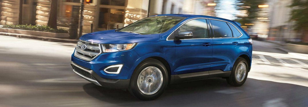 Side View of Blue 2018 Ford Edge