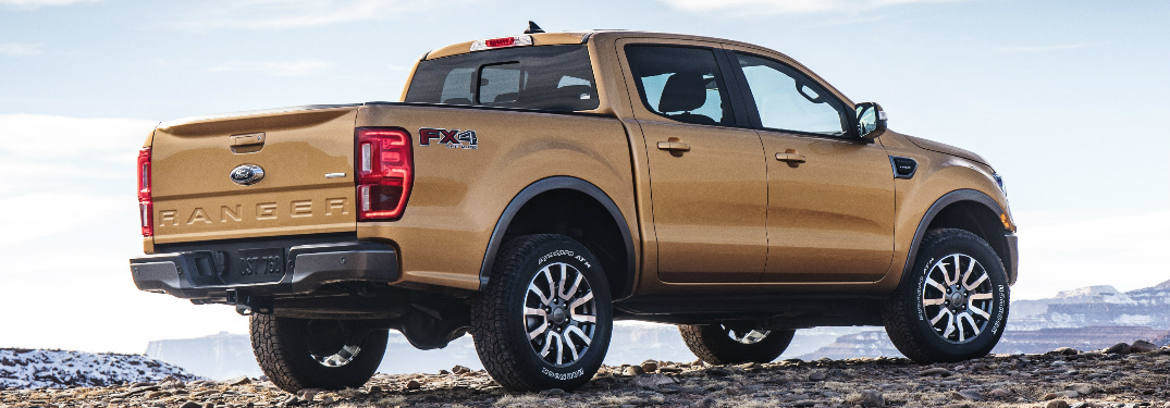 Rear View of Orange 2019 Ford Ranger
