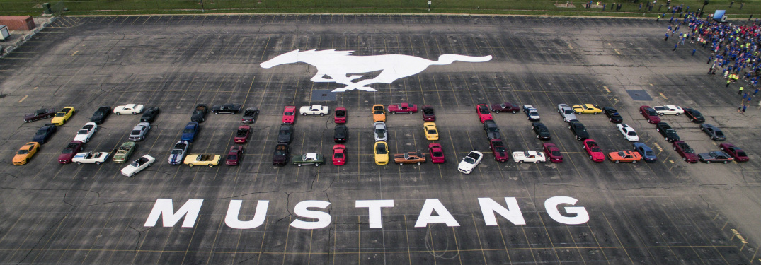 Aerial View of Ford Mustang Cars Positioned to Spell Out 10,000,000