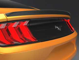 Rear Lip Spoiler on Yellow 2018 Ford Mustang