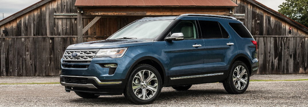 Blue 2019 Ford Explorer Limited Luxury Edition Parked in Front of a Barn
