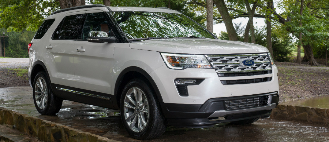 Front View of White 2019 Ford Explorer XLT Desert Copper Edition