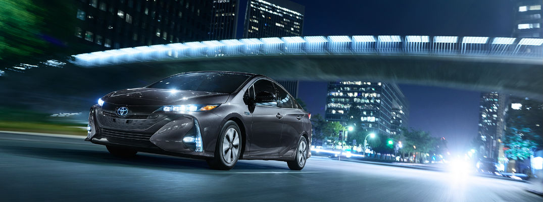 2017 Prius Prime driving at night