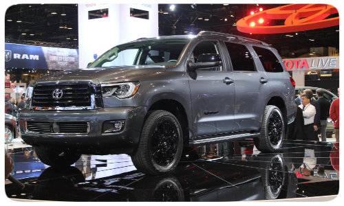 2018 toyota sequoia trd sport display at chicago auto show df western slope toyota. Black Bedroom Furniture Sets. Home Design Ideas