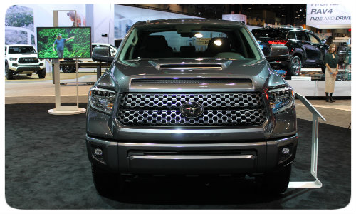 2018 toyota tundra trd sport front grille chicago auto show df western slope toyota. Black Bedroom Furniture Sets. Home Design Ideas