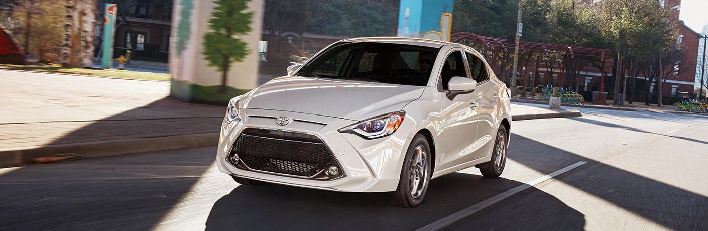Front View of White 2019 Toyota Yaris Sedan