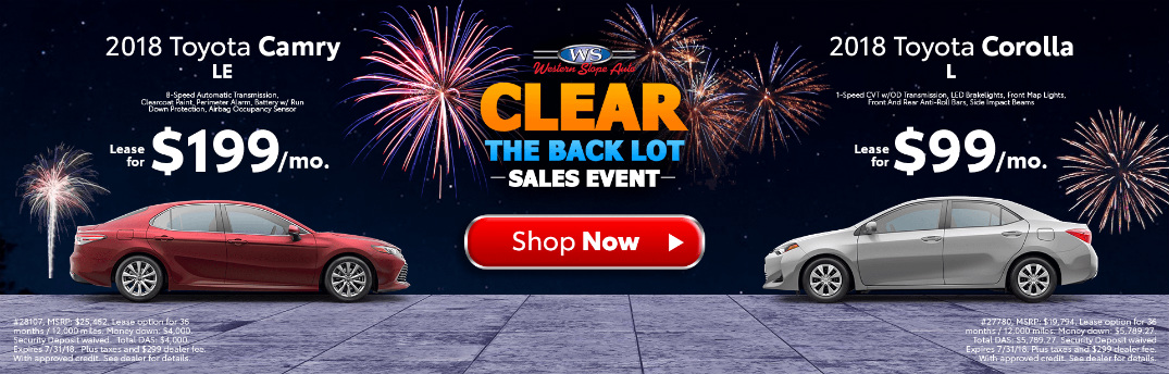 Western Slope Toyota Clear the Back Lot Sales Event Title, Red 2018 Toyota Camry, Silver 2018 Toyota Corolla, and Fireworks