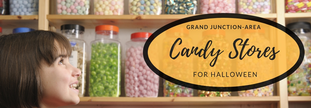Grand Junction-Area Candy Stores for Halloween and a Kid Looking at a Wall of Candy